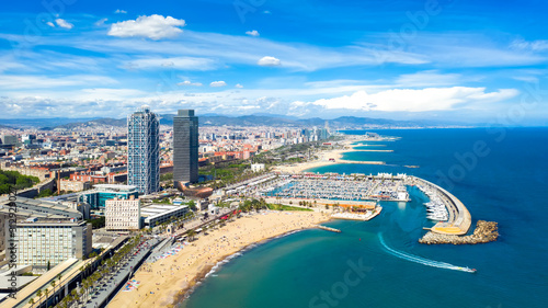 Barcelona, Spain aerial panorama Somorrostro beach, top view central district ci Canvas Print