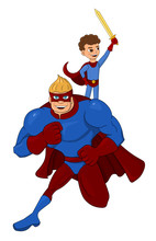Cartoon Of A Superhero And His...