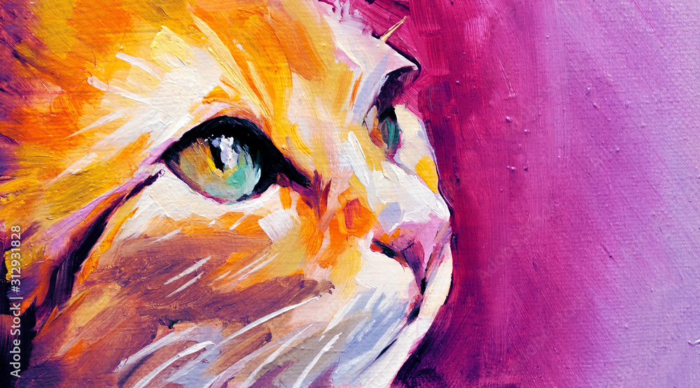 Fototapeta Illustration in oil paint of a cat in profile with big blue-light and green eyes on pink background, vivid colors
