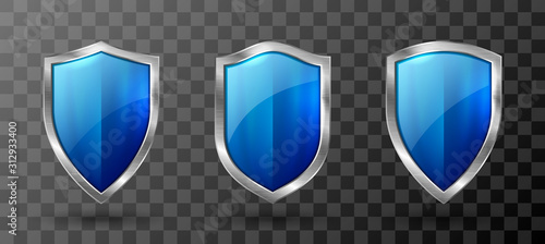 Fototapeta Blue shield metal frame realistic vector illustration
