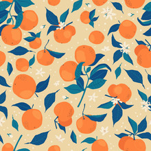 Seamless Pattern With Branches Of Oranges, Flowers And Buds On A Beige Background. A Modern Bright Repeated Background With Citrus In Flat Style. Vector Stock Illustration