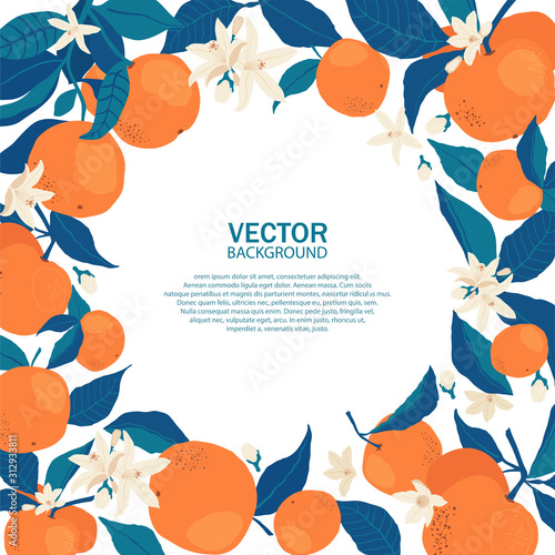 Circle frame of oranges on branches with copy space in flat style. Template with citrus fruits for your brochure design, banner, labels. Vector stock illustration