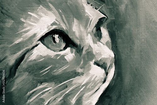 Fotomural Illustration in oil paint of a cat in profile with big blue-light and green eyes