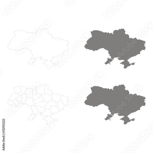Fototapeta  monochrome vector set with maps of Ukraine