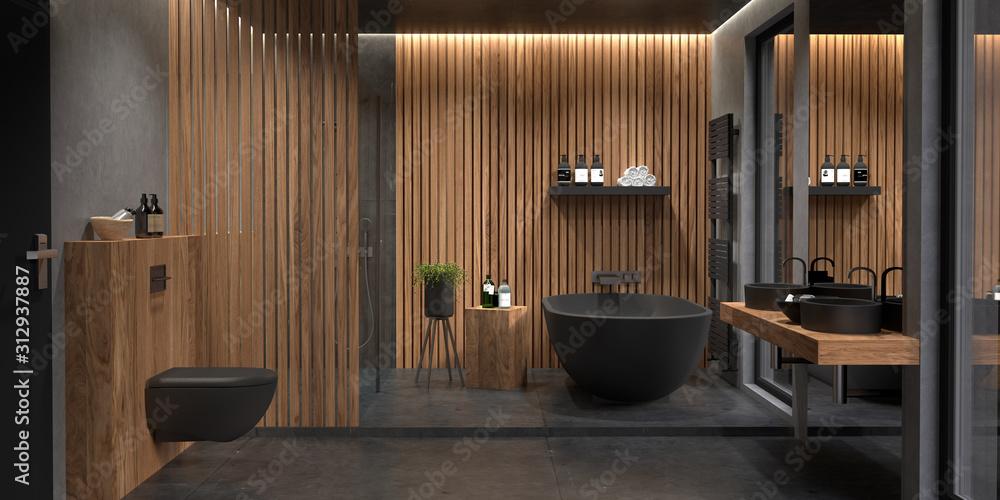 Fototapeta Bad, Badezimmer, modern, freistehende Badewanne