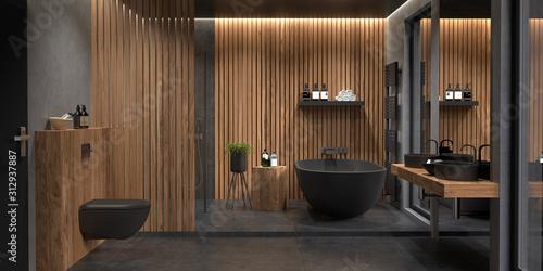 Fototapeta Bad, Badezimmer, modern, freistehende Badewanne obraz