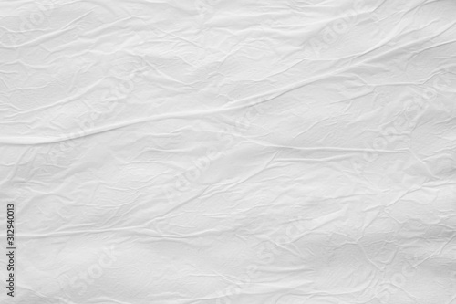 Fotografie, Obraz Blank white crumpled creased torn paper poster texture surface background
