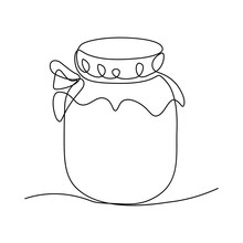 Glass Canning Jar In Continuous Line Art Drawing Style. Food Preserve. Minimalist Black Linear Sketch On White Background. Vector Illustration