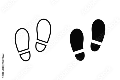 Obraz vector illustration of footprint isolated icon. shoe, foot, step flat simple symbol - fototapety do salonu