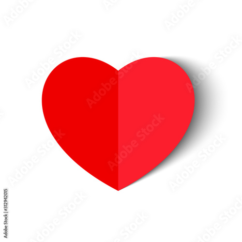 Photographie Vector Red paper heart isolated on white background