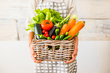 Caucasian Woman People With Bucket Full Of Coloured And Mixed Fresh Healthy Food Like Fruit And Vegetables - Concept Of Little Store With Km 0 Products