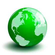 Green Transparent Glass Planet Earth Globe On A White