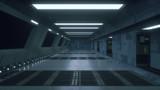 Fototapeta Perspektywa 3d - 3d render. Futuristic spaceship scifi corridor architecture