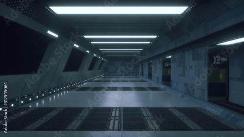 Cuadros en Lienzo 3d render. Futuristic spaceship scifi corridor architecture