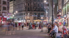 People Walking In The Old City Center Of Vienna In Stephansplatz Night Timelapse