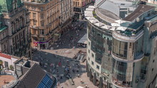 People Walking In The Old City Center Of Vienna In Stephansplatz Aerial Timelapse