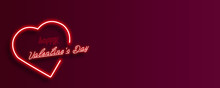 Neon Heart And Valentine's Day Inscription On A Burgundy Gradient Background.