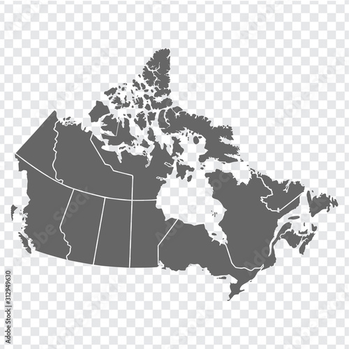 Blank map of Canada. High quality map of  Canada with provinces on transparent background for your web site design, logo, app, UI. America. EPS10.