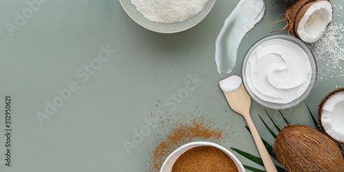 Fototapeta cooking concept . coconut cream product for cake making obraz