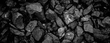 A Heap Of Black Natural Coal, Photo Of Coal Mine Background, Texture