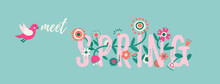 Hello Spring Banner With Cute Flowers And Flying Bird. Floral Background. Printable Banner With Text. Cartoon Flat Illustration.