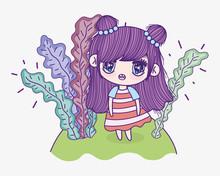 Kids, Cute Little Girl Cartoon Anime And Leaves Foliage
