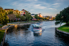 Panoramic View Of Boardwalk Hotel And Taxi Boat At Lake Buena Vista Area