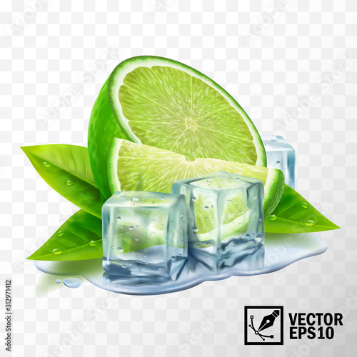 Photo 3D realistic vector set of elements lime with mint or tea leaves and ice cubes,