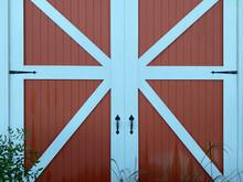 Door Red Wood Wooden Barn