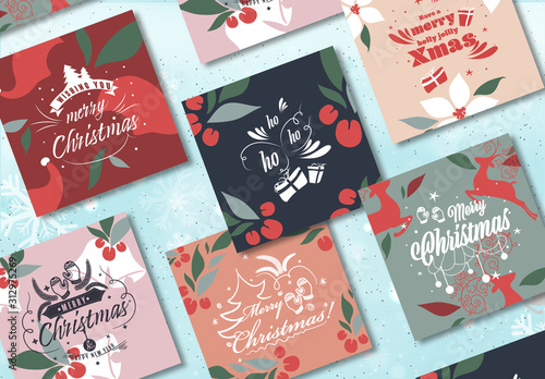 Obraz Colorful Social Media Post Layout for Merry Christmas - fototapety do salonu