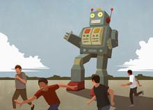 Large Robot Chasing Boys