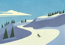Skier Descending Snowy Mountain Slope