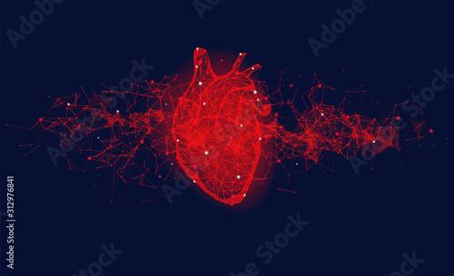Fototapeta Futuristic medical concept with red human heart obraz