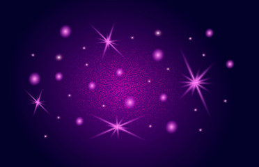 Stars on the night sky. Stardust wave is glittering. Sparkling pink lights. Bright shining beams. Enigmatic and mysterious colossal firmament vector. Xmas glare and glitter