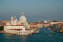 Venice, Italy: Basilica Di Santa Maria Della Salute Und Punta Della Dogana, Grand Canal. In The Morning Sun