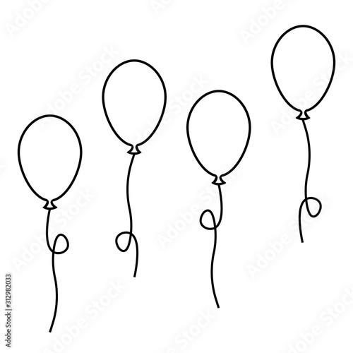 zestaw balonów. wektor zapasów. czarny prosty płaski kontur ilustracja na białym tle eps10 na białym tle