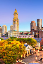 Boston, Massachusetts, USA Skyline With Faneuil Hall And Quincy Market