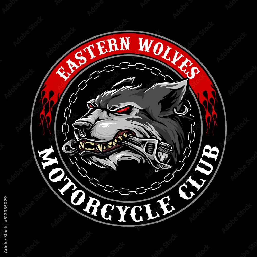 Fototapeta wolf head with wrench in the mouth logo for motorcycle club vector design