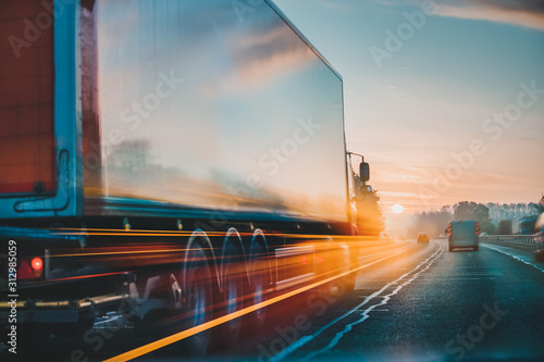 Fototapeta Lorry Cargo Transport Delivery in motion, United Kingdom M1 Motorway obraz