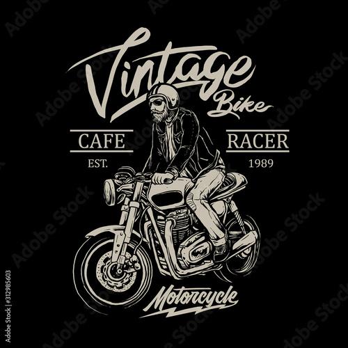 man riding cafe racer motorcycle vector badge Canvas Print