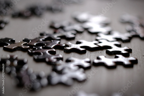 Puzzle Piece Solving Jigsaw Game for Fun and Achievement Fototapet