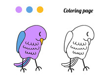 Illustration Of Cute Bird. Coloring Page Or Book For Baby.