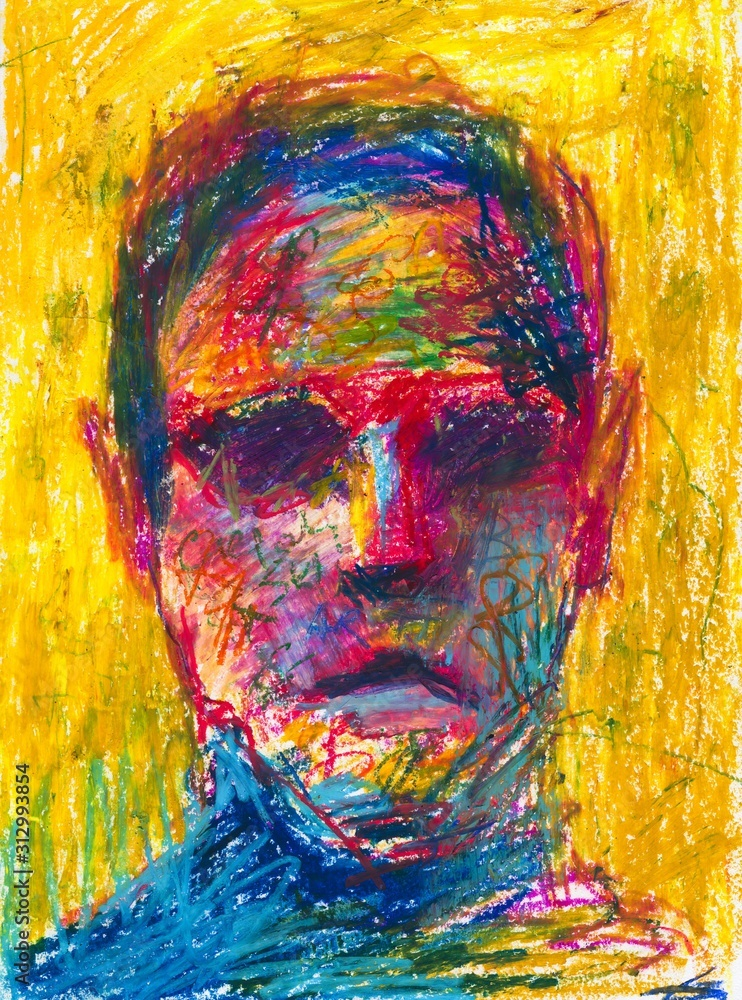 Man abstract portrait hand drawn color illustration