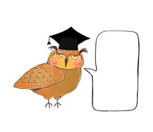 Vector Colorful Illustration Of Cute Owl In Graduate Cap And Speach Buble