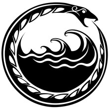 Ouroboros Serpent Curled Up Around Sea Waves