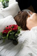 Bouquet Of Red Roses On Bed, S...