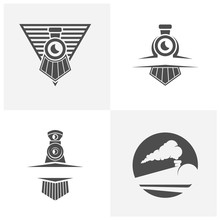 Set Of Classic Train Logo Concept, Locomotive Logo Design Vector Template, Creative Design, Icon Symbol