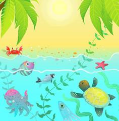Underwater life sea creatures tropical paradise cartoon background scene for children.