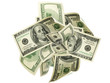 canvas print picture - Us dollar. American money, falling cash. Flying hundred dollars isolated.
