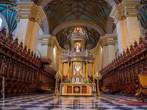 Fotografie, Obraz  Main room with the golden altarpiece in the background in Lima cathedral, Lima c